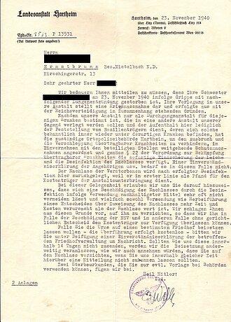 Eine Tötungsnachricht  aus der Tötungsanstalt Hartheim.  Diese wurde an die Angehörigen  eines Opfers geschickt.