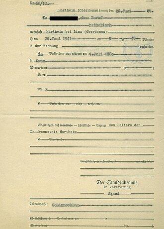 Eine gefälschte Sterbeurkunde von einem Opfer der Tötungsanstalt Hartheim