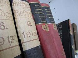zeigt Bücher der Bibliothek